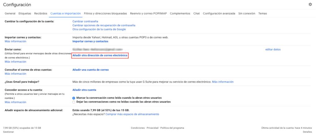 Configurar correo en Gmail