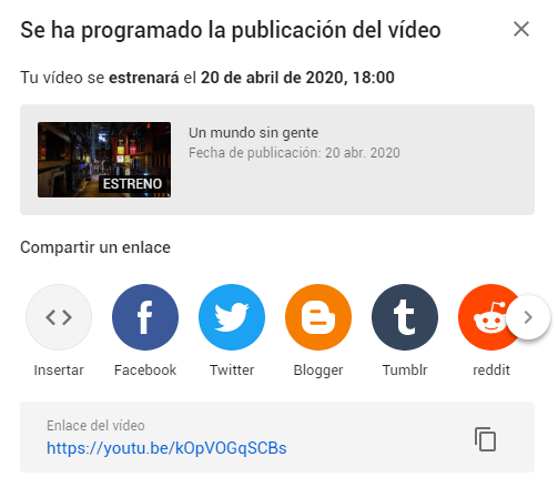 Estreno programado Youtube
